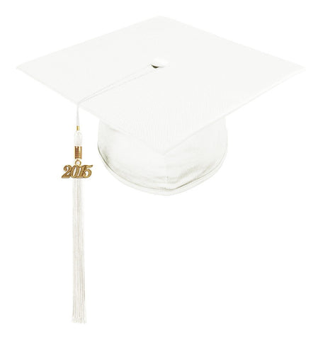 Shiny White High School Cap & Tassel - Graduation Caps - Graduation Cap and Gown