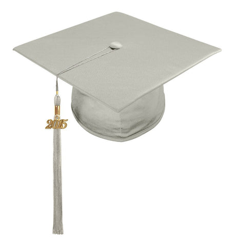 Shiny Silver High School Cap & Tassel - Graduation Caps - Graduation Cap and Gown