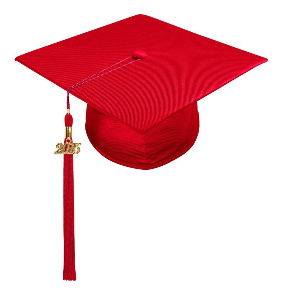 Shiny Red High School Cap & Tassel - Graduation Caps - Graduation Cap and Gown