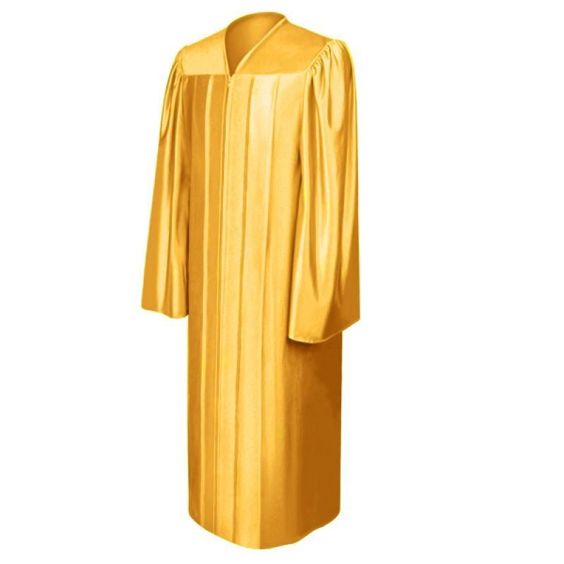 Shiny Antique Gold High School Graduation Gown - Graduation Cap and Gown