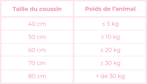 Guide taille AnimalDream Coussin