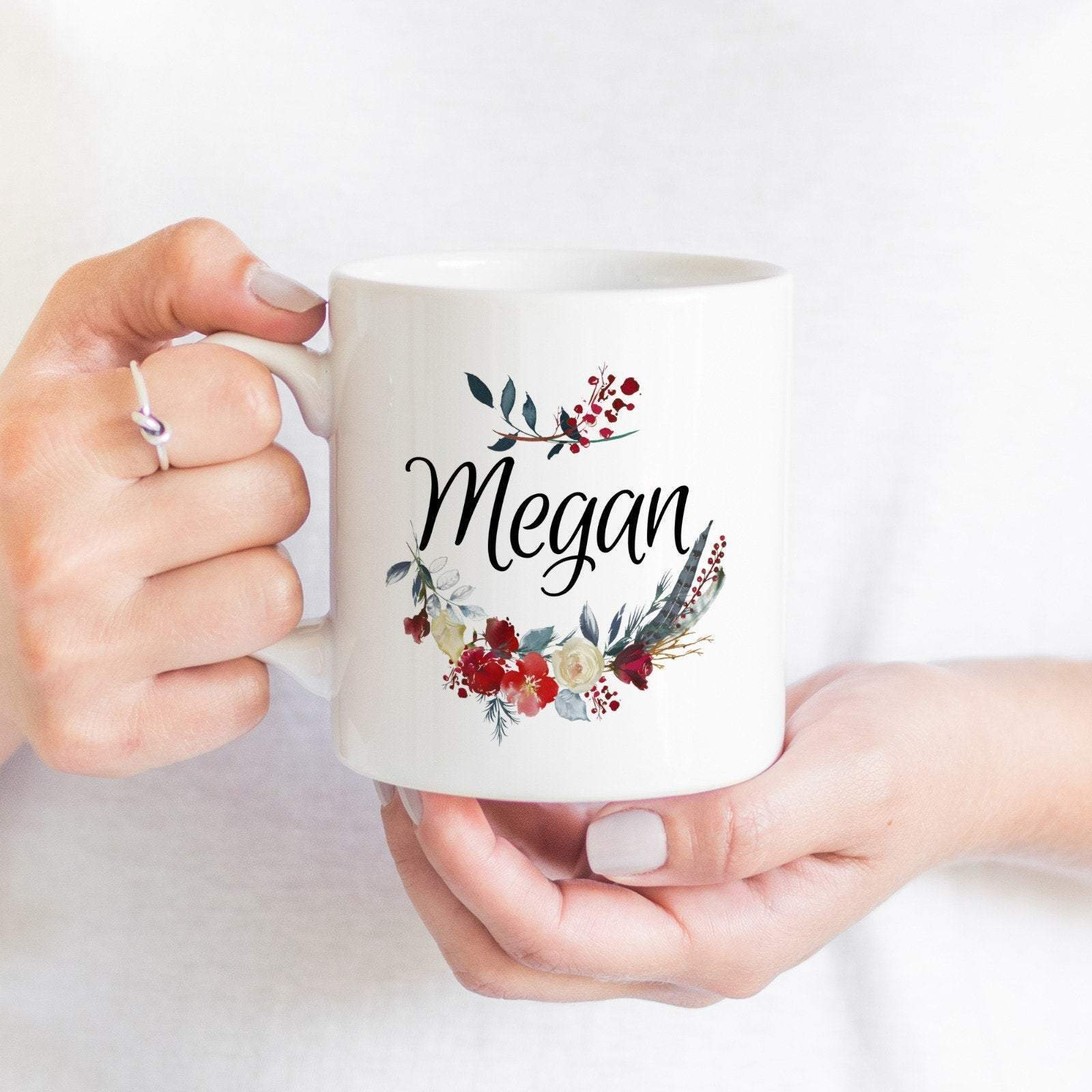 Floral themed name mug, Personalised Gift for her , Personalized with a name