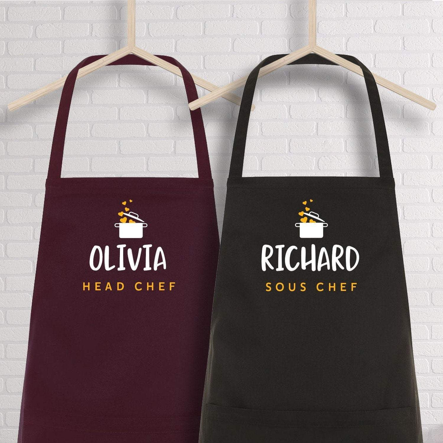 Head chef and Sous chef aprons with name, SET OF 2, Valentine's Day gift, Housewarming GIft
