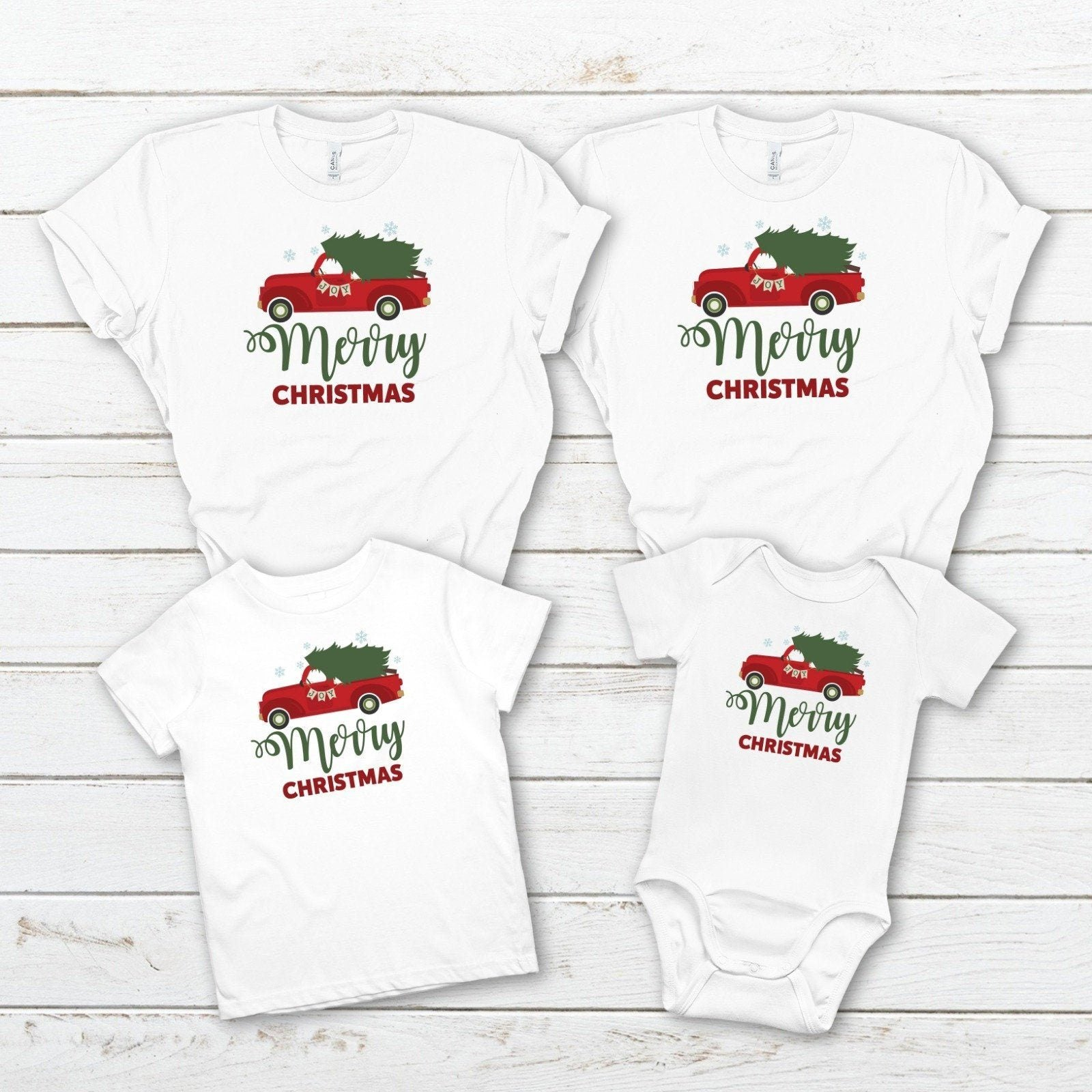 Matching Family Christmas T- shirts with red Christmas truck, Christmas Tshirts, Festive outfit
