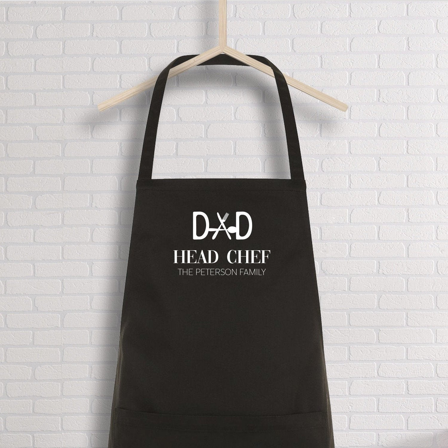 Personalised Dad Apron With Family Name, Dad Head Chef, Bbq Apron