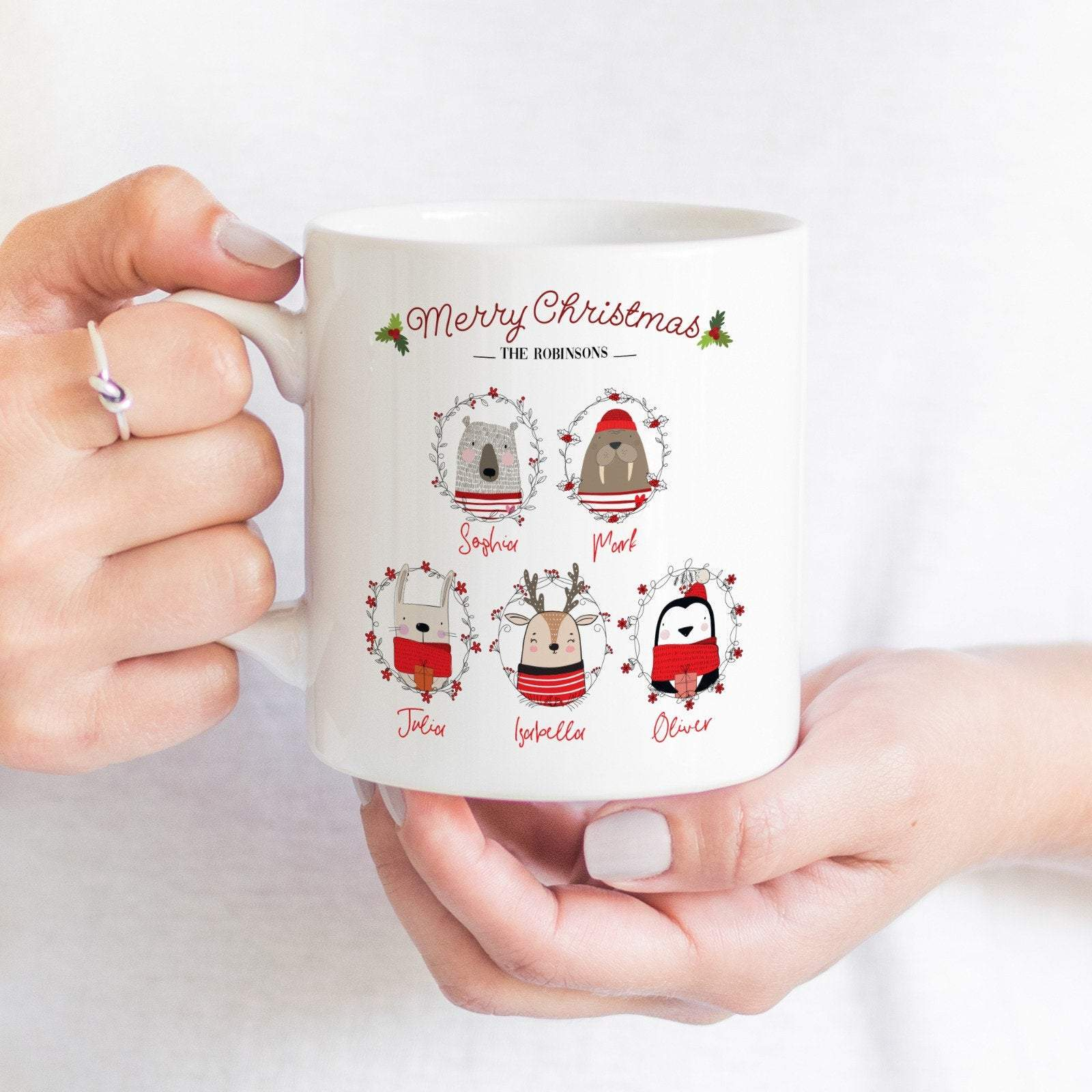 Personalised Merry Christmas mug with family name and names, Cute Christmas Gift for families