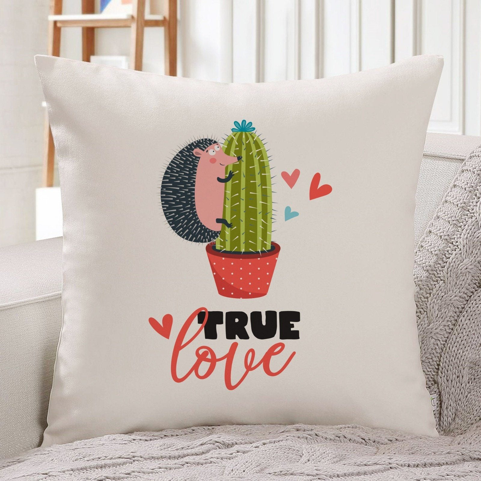 True love cushion cover, Valentine's Day gift for her, Funny Valentines day gift