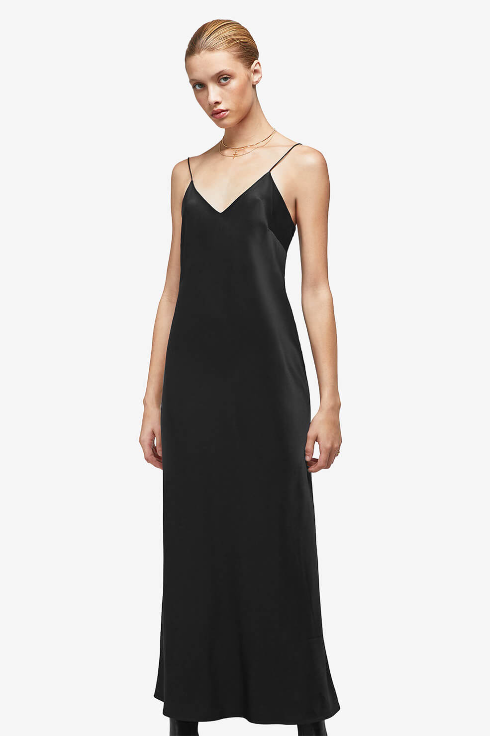 931e76200e ANINE BING ROSEMARY SILK SLIP - BLACK
