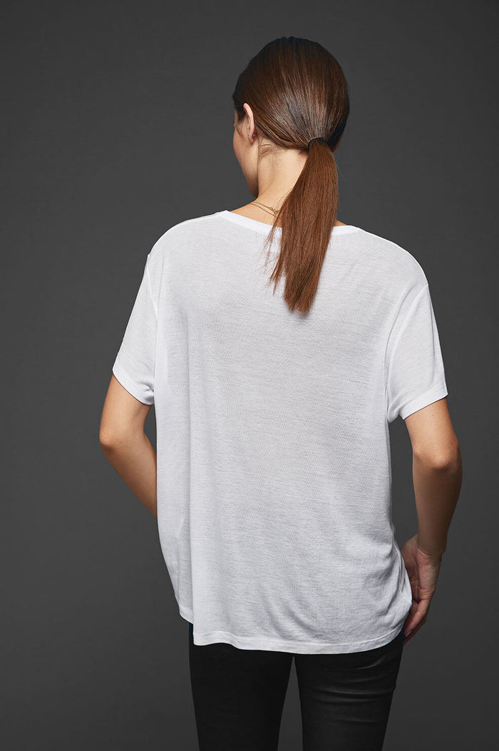 ANINE BING Deep vneck t-shirt in white