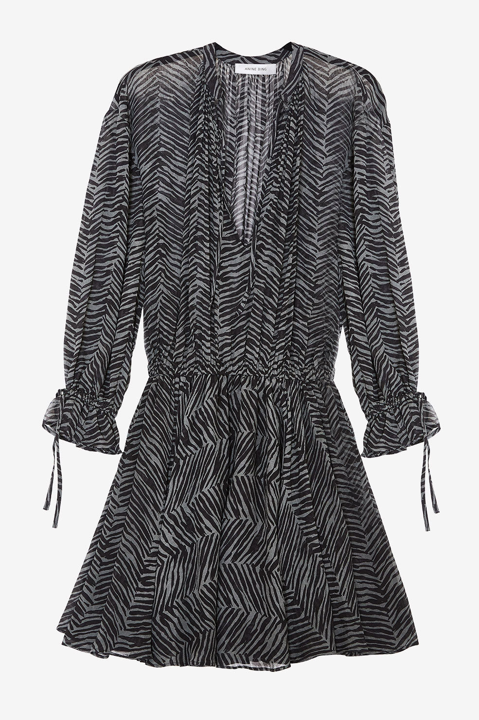 ANINE BING Elliana Dress - Willow Green Zebra