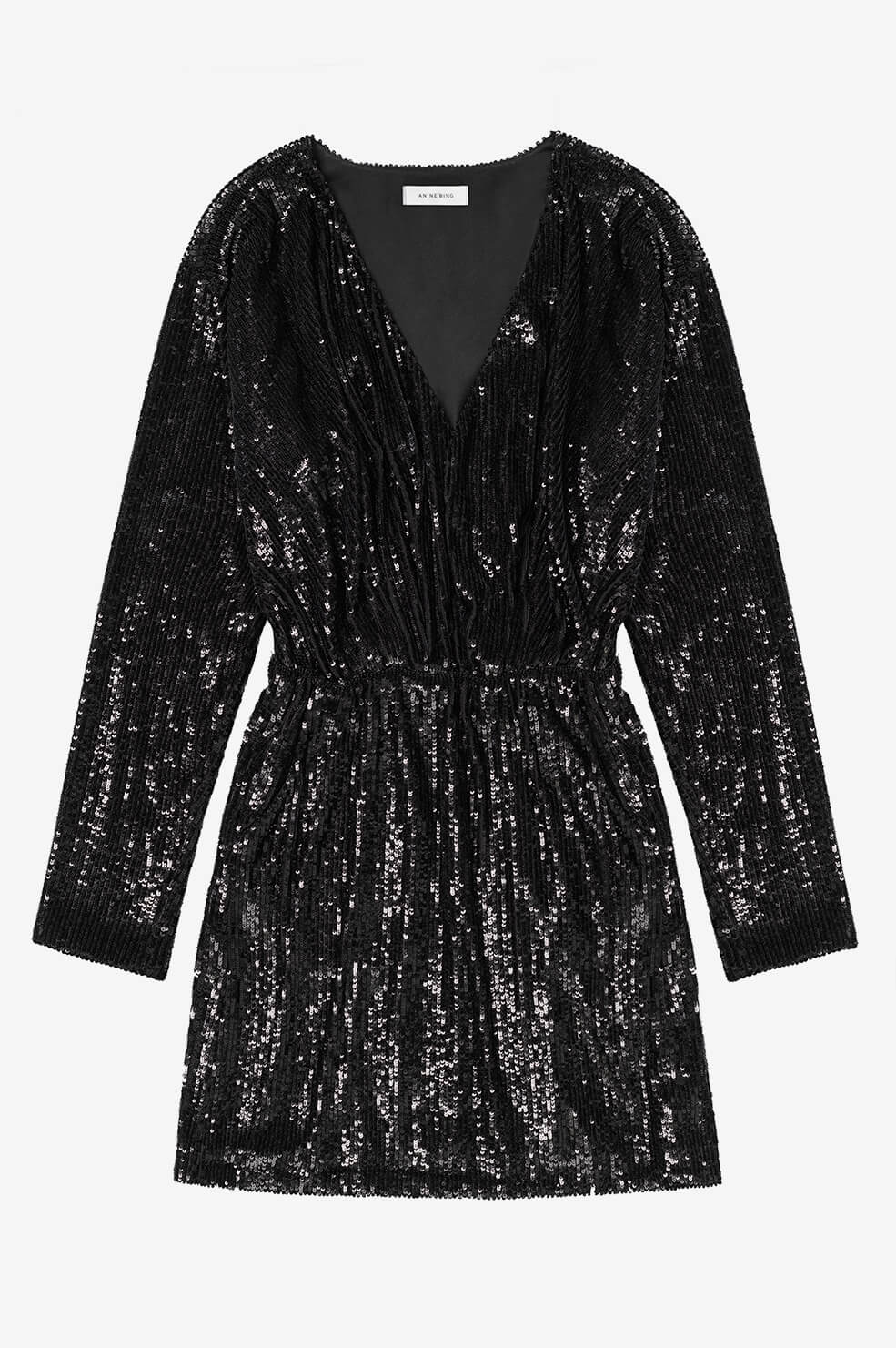 ANINE BING Elena Dress - Black Sequin