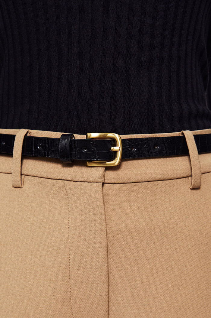 ANINE BING Jane Belt - Black Croco