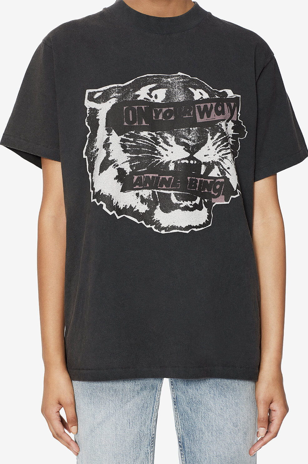 ANINE BING Lili Tee Tiger Eyes - Black
