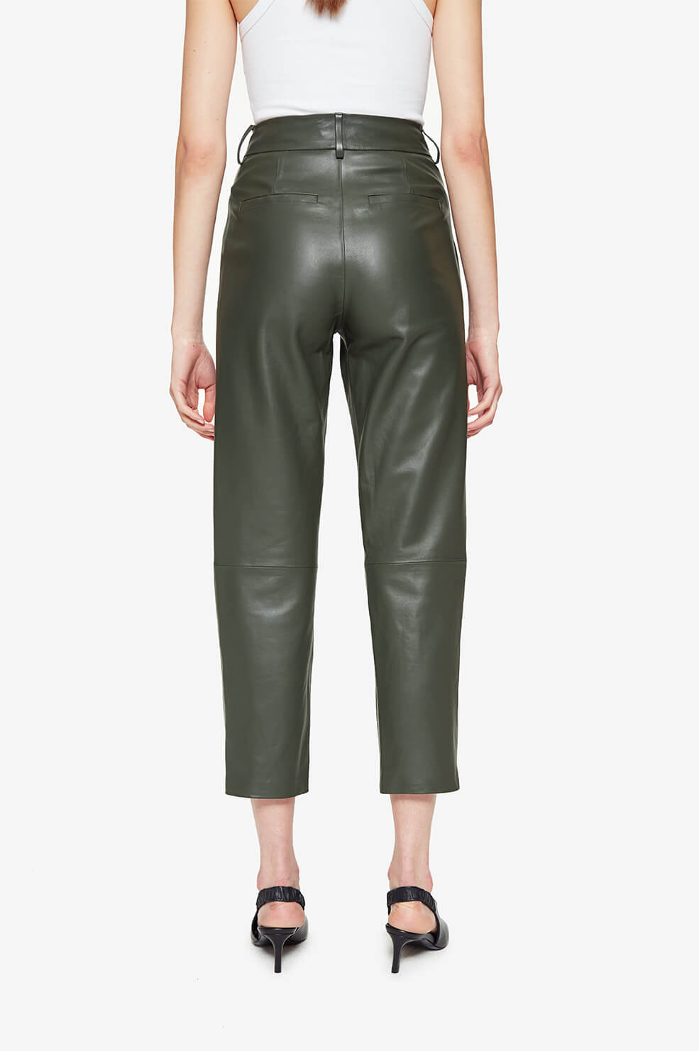ANINE BING Becky Trouser - Green Leather