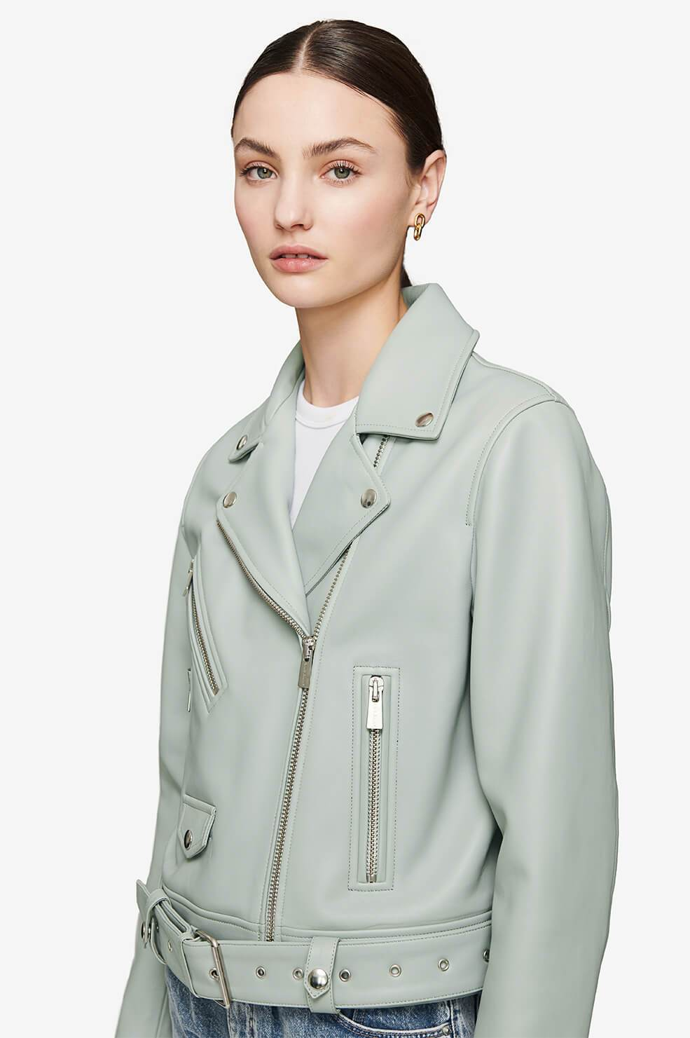 Benjamin Moto Jacket - Dusty Mint