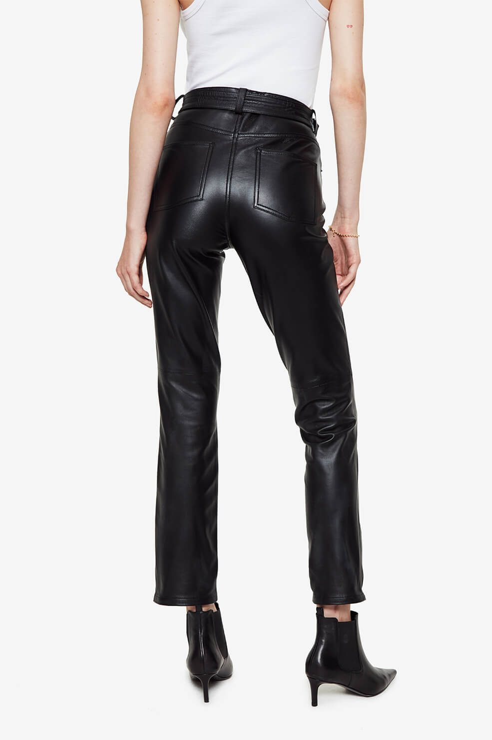 ANINE BING Connor Leather Pants - Black