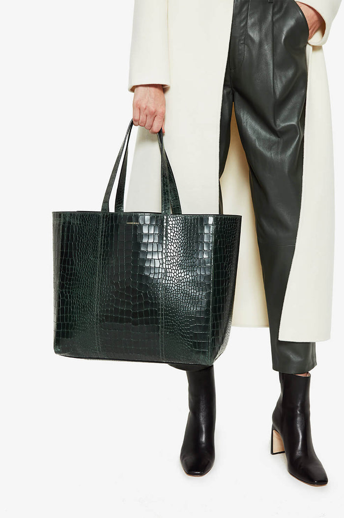 ANINE BING Croco Tote - Green
