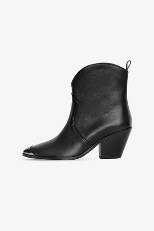 ANINE BING Easton Boots - Black with Metal Toe Cap
