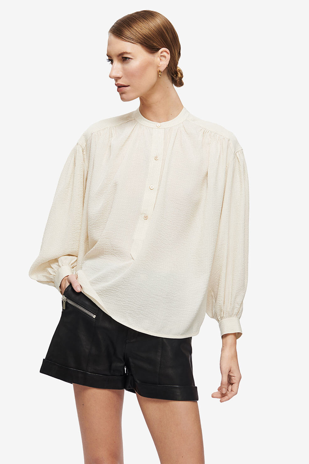 Eden Shirt - Cream and Black Stripe