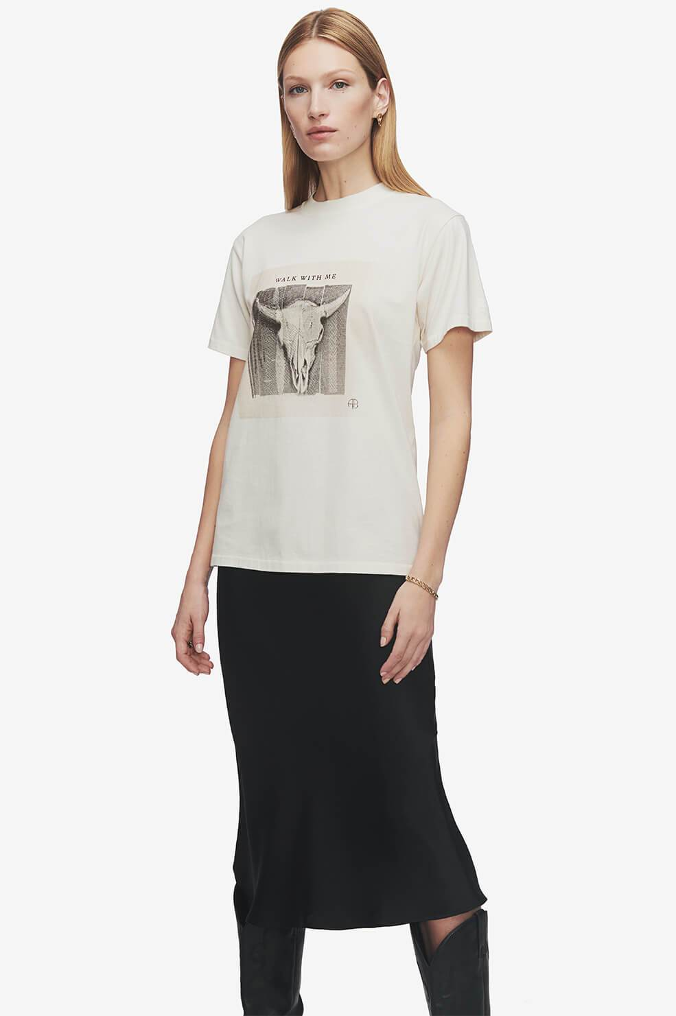ANINE BING Lili Tee Walk With Me - Ivory