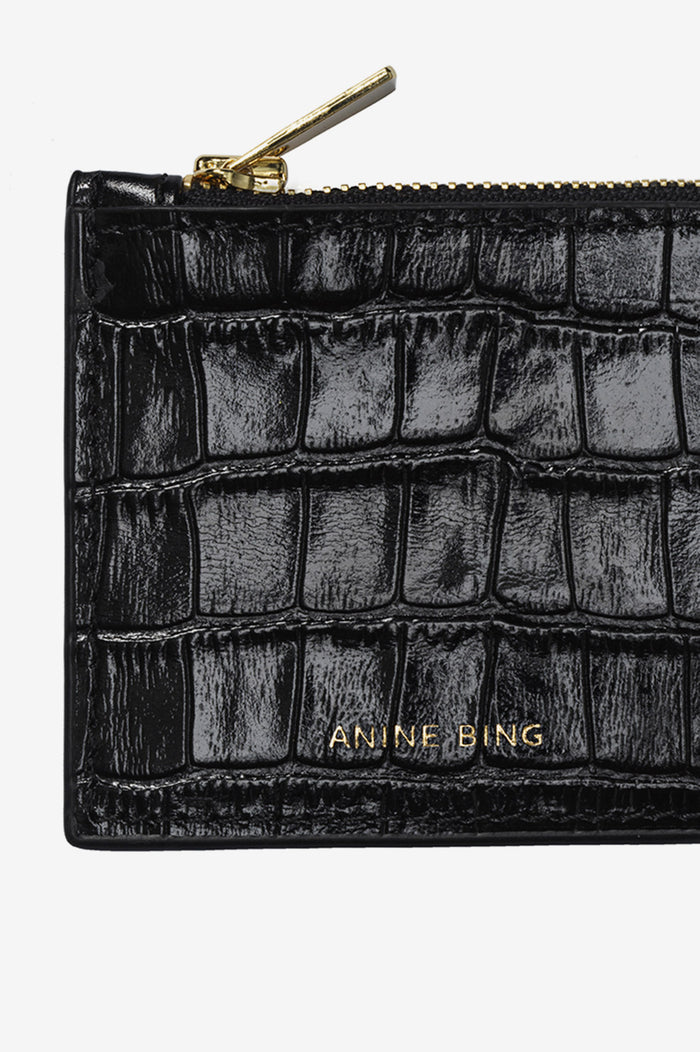 ANINE BING Luca Card Holder - Black Croc