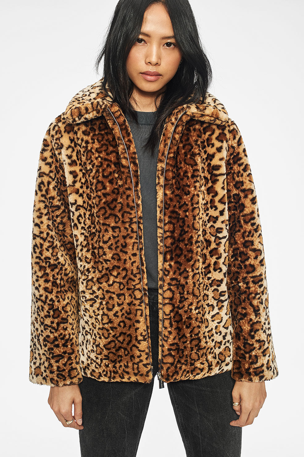 ANINE BING Molly Faux Fur Jacket - Leo