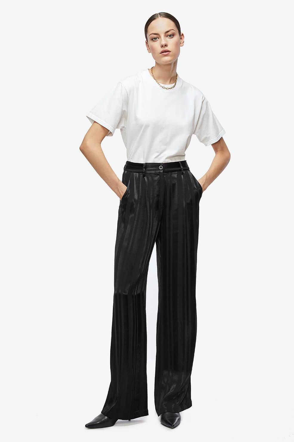 Hayes Trouser - Black Tonal Stripe