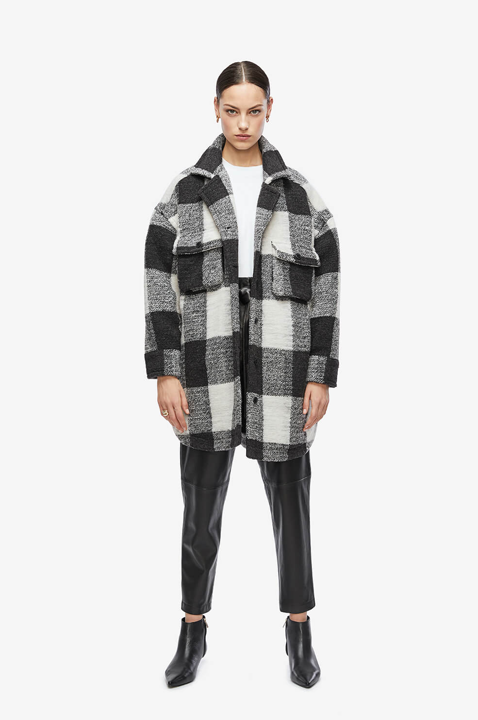 ANINE BING Maeve Jacket - Cream Buffalo Check