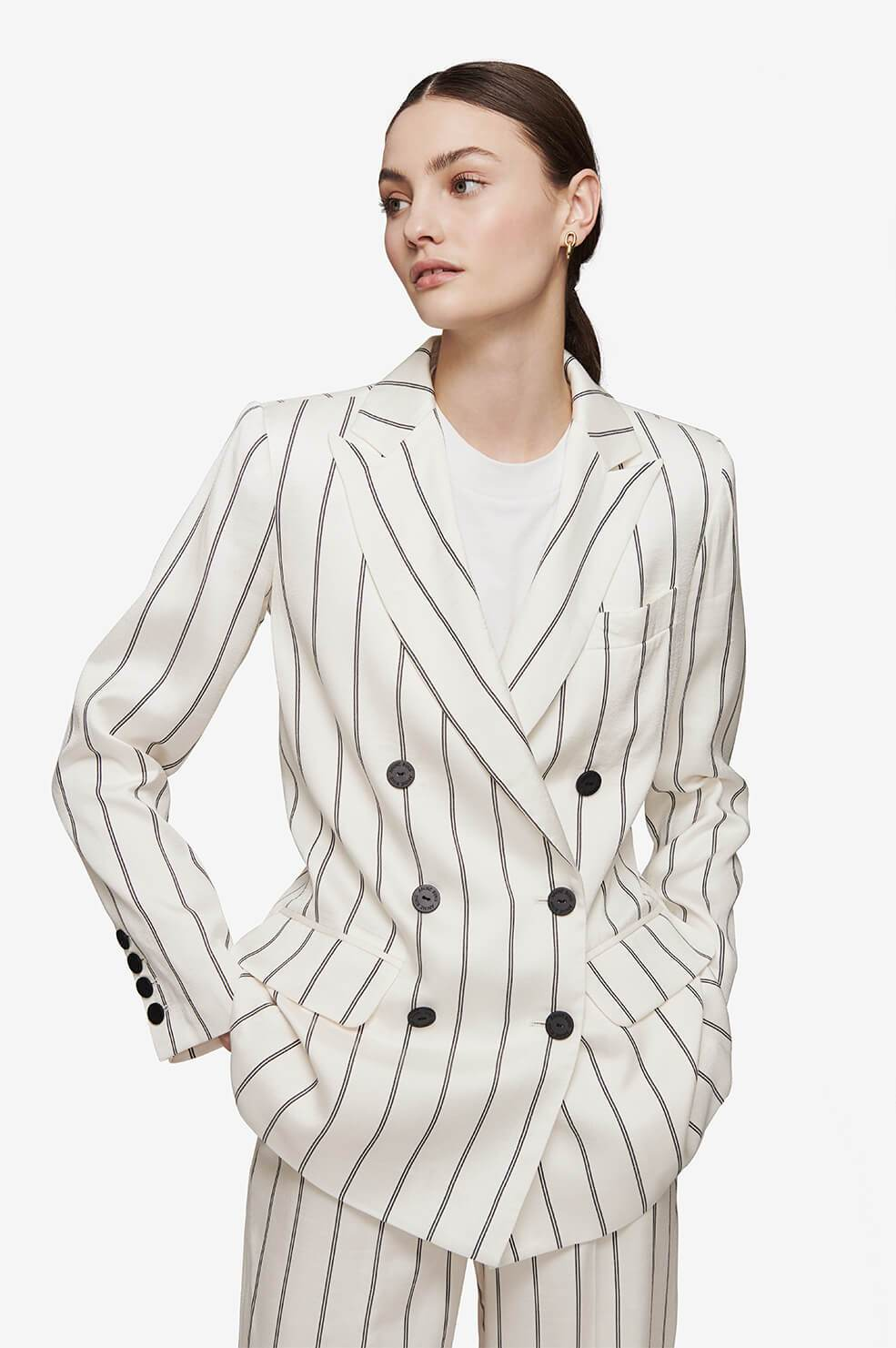 ANINE BING Ryan Blazer - Cream And Black Stripe