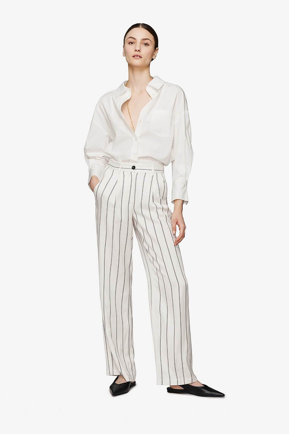 Ryan Trousers - Cream And Black Stripe