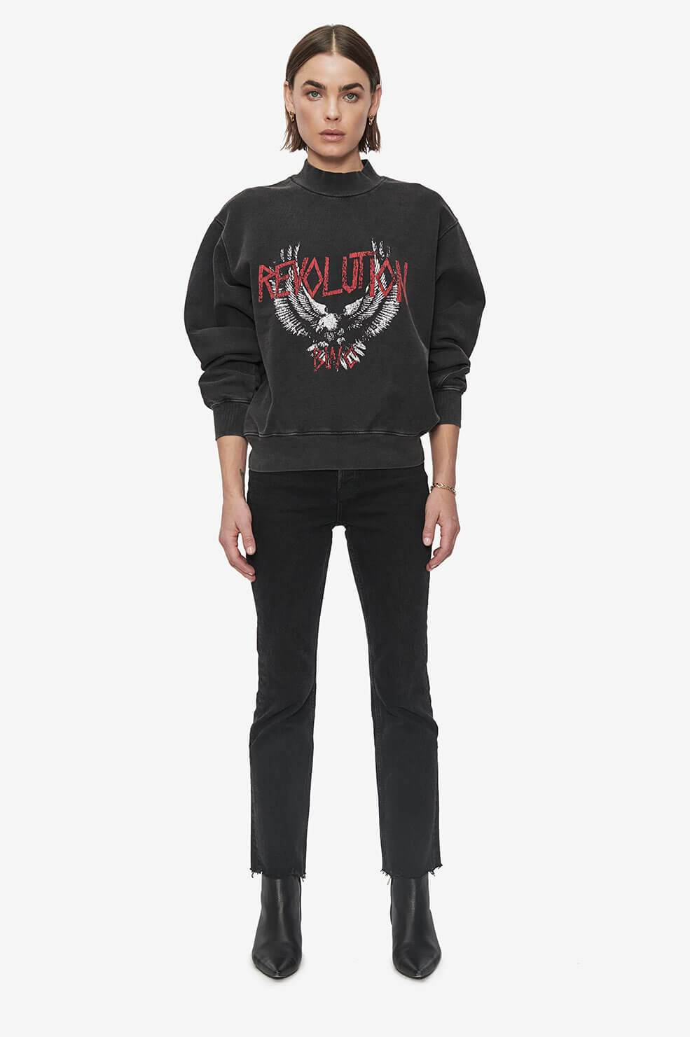 ANINE BING Saint Sweatshirt Revolution - Washed Black