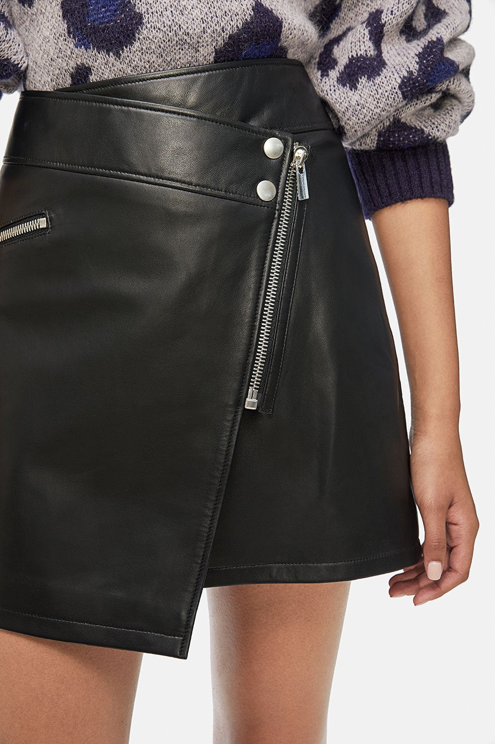 ANINE BING Sarah Leather Skirt - Black