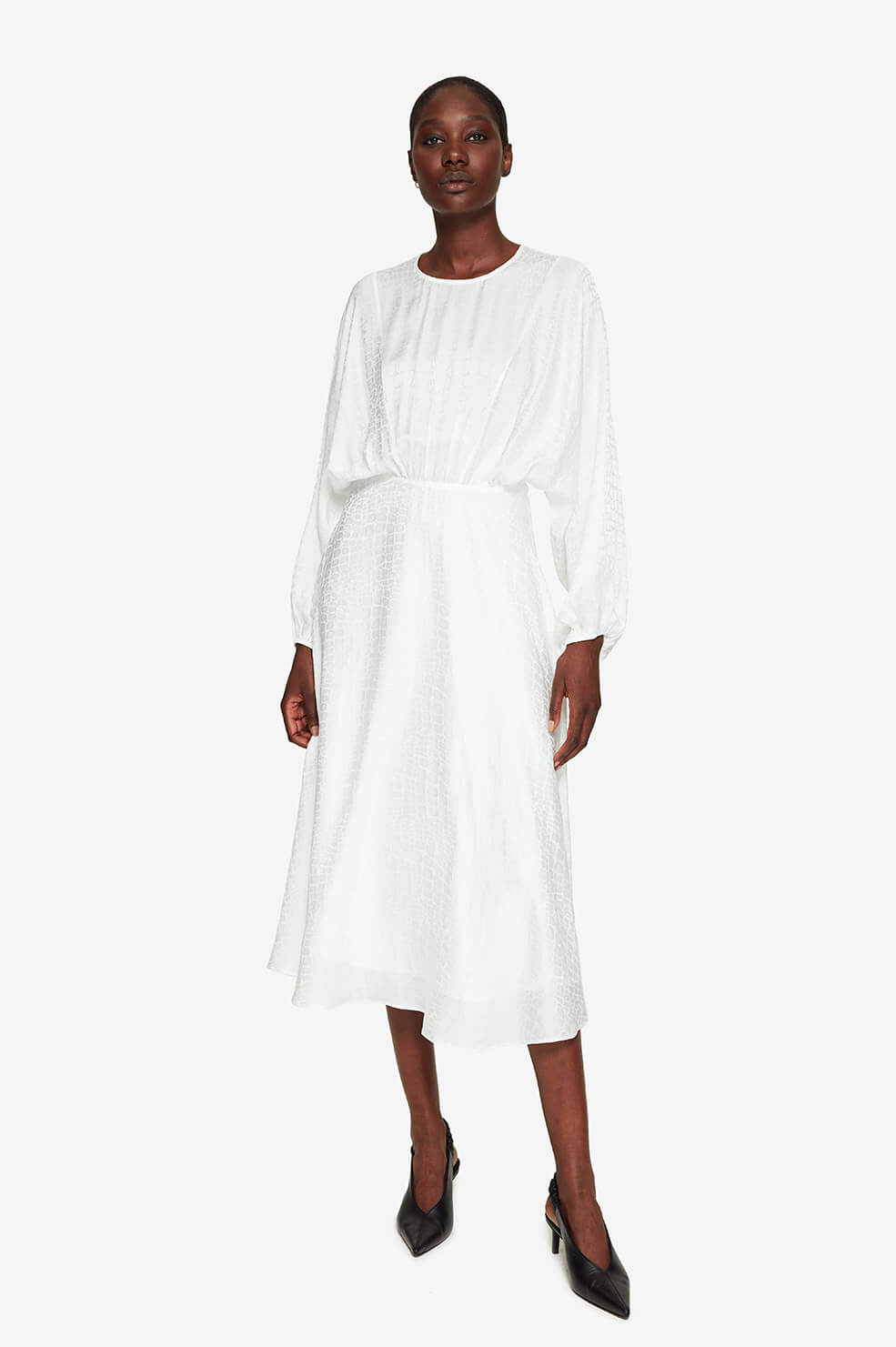 Serena Dress - White Jacquard