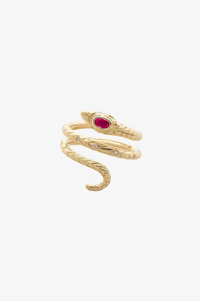 ANINE BING SNAKE RING - RUBY
