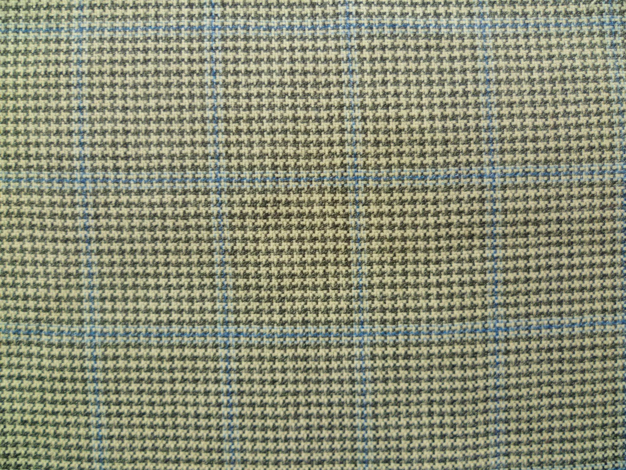 White, Grey and Blue Overchecked Wool