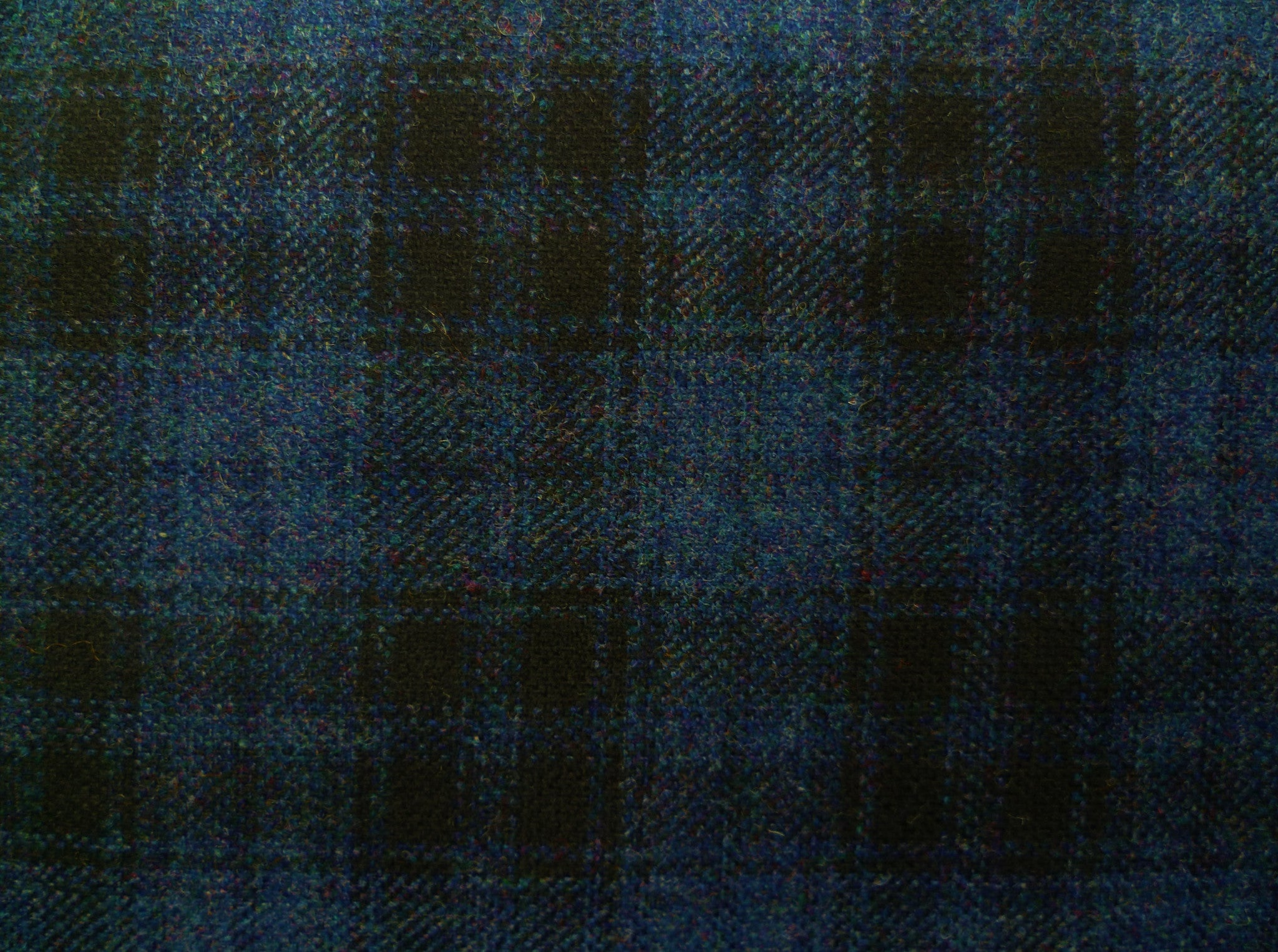Steel Blue and Black Checked Wool