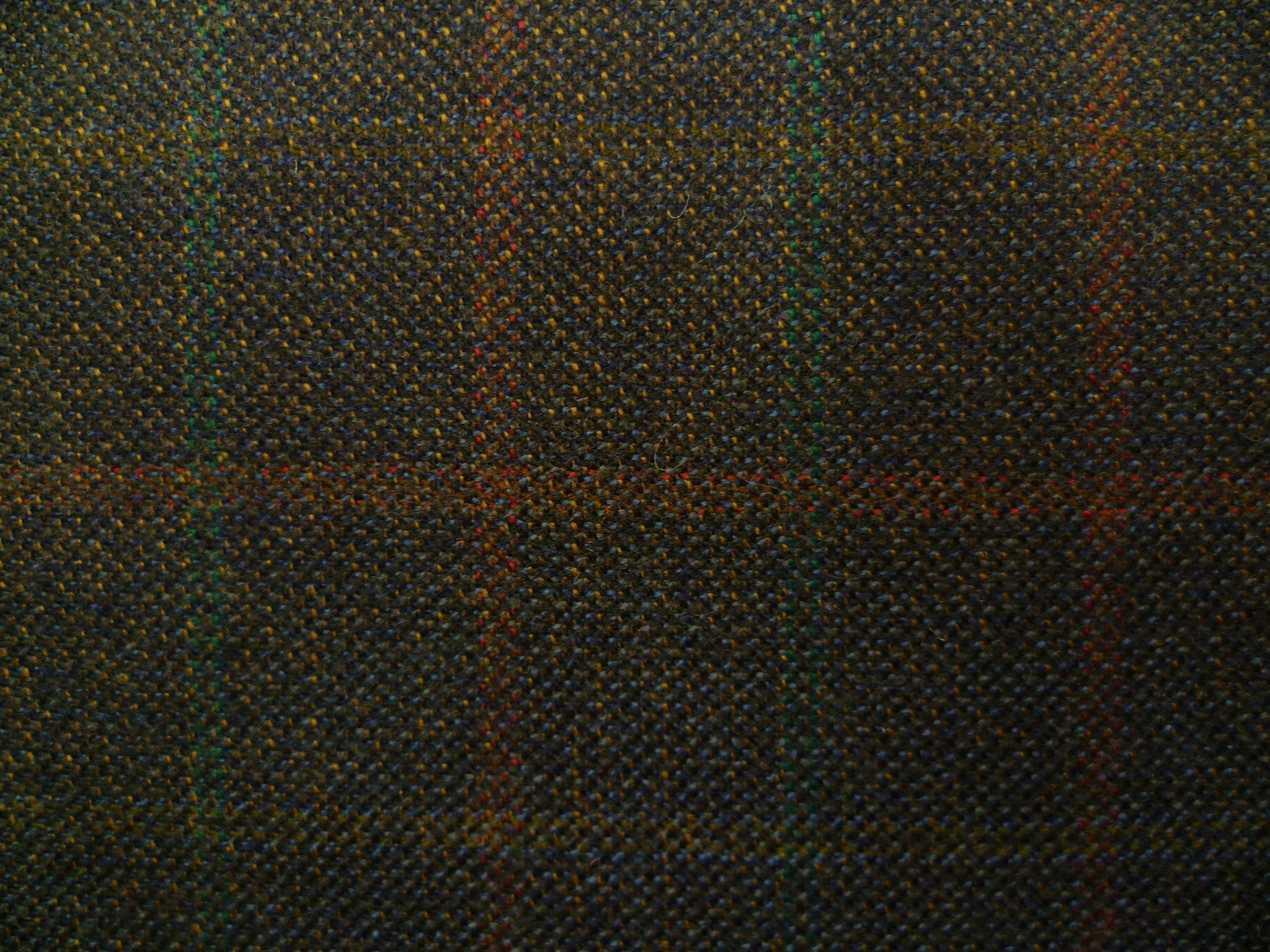 Navy Blue, Terracotta and Copper Green Checked Luxury Worsted Wool
