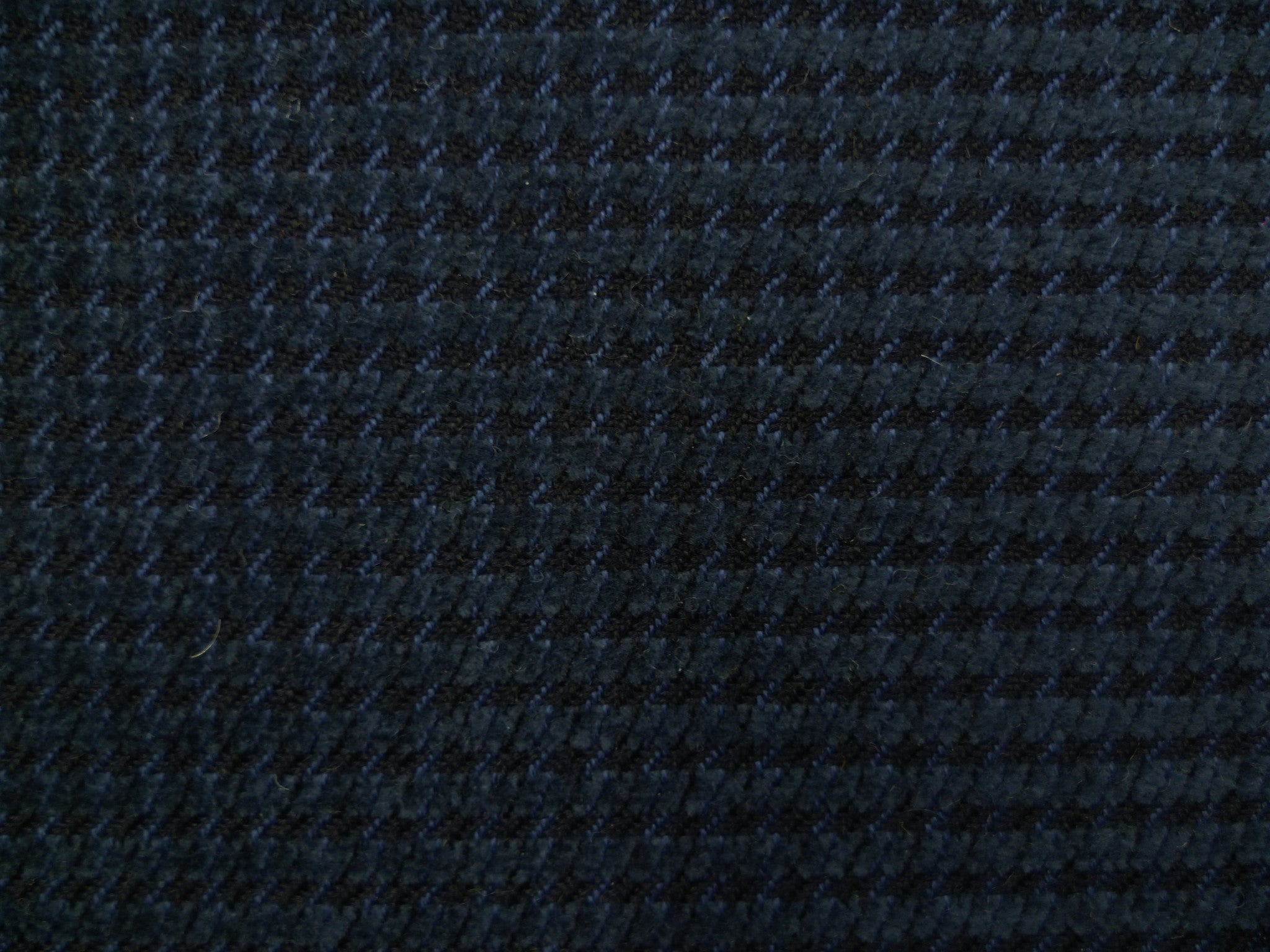 Steel Blue and Black Corduroy Houndstooth Wool-Cotton