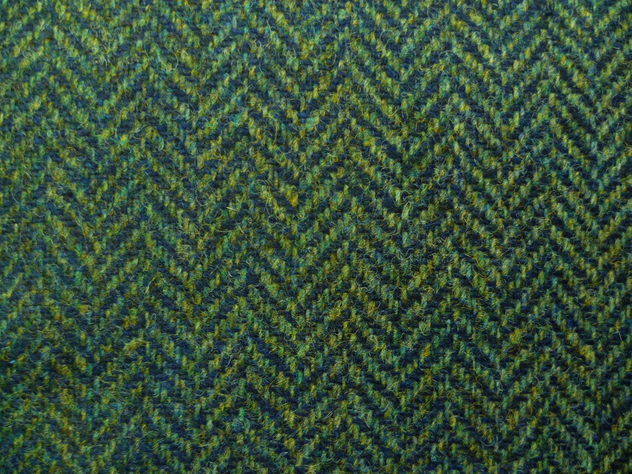 Mixed Blue-Green and Camel Herringbone Wool