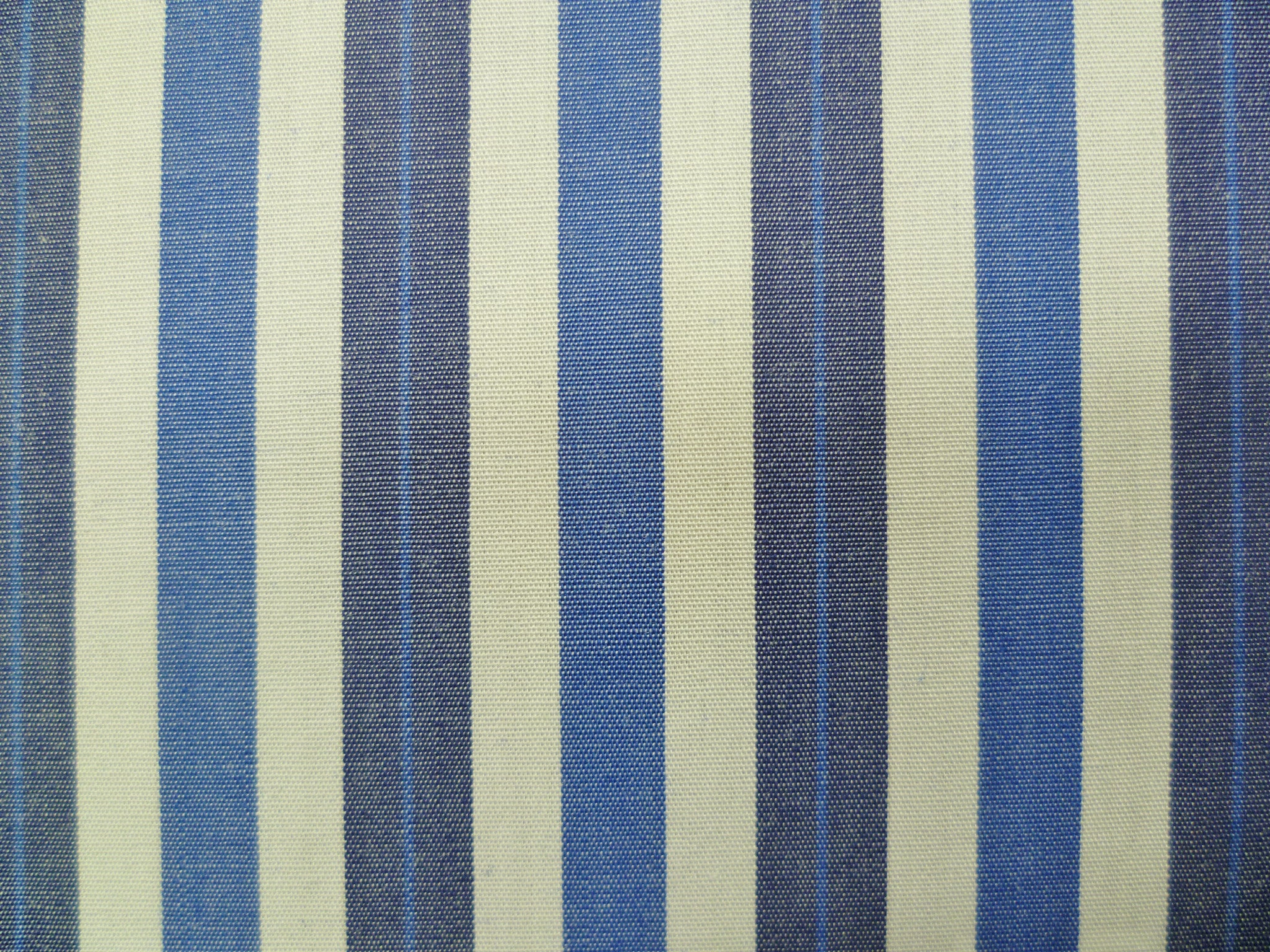 Ocean Blue, Navy and White Striped Cotton
