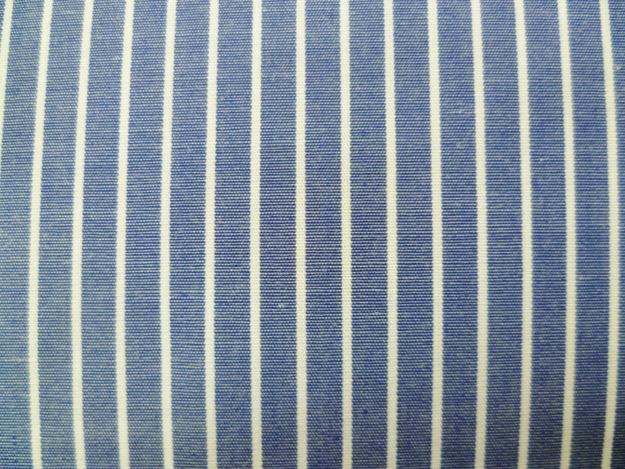 White and Bright Navy Striped Cotton