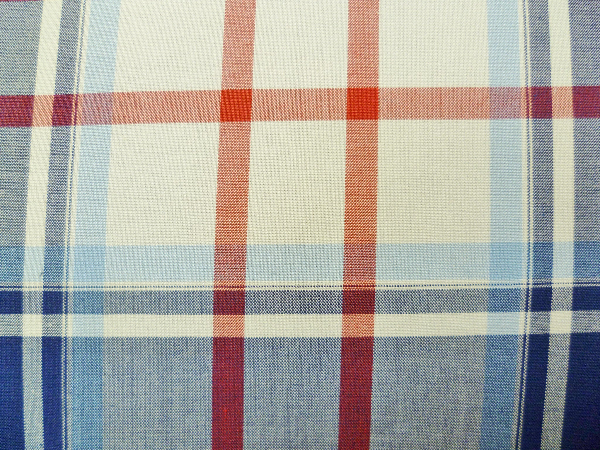 Navy, Baby Blue, Crimson Red, White and Ocean Blue Tartan Checked Cotton