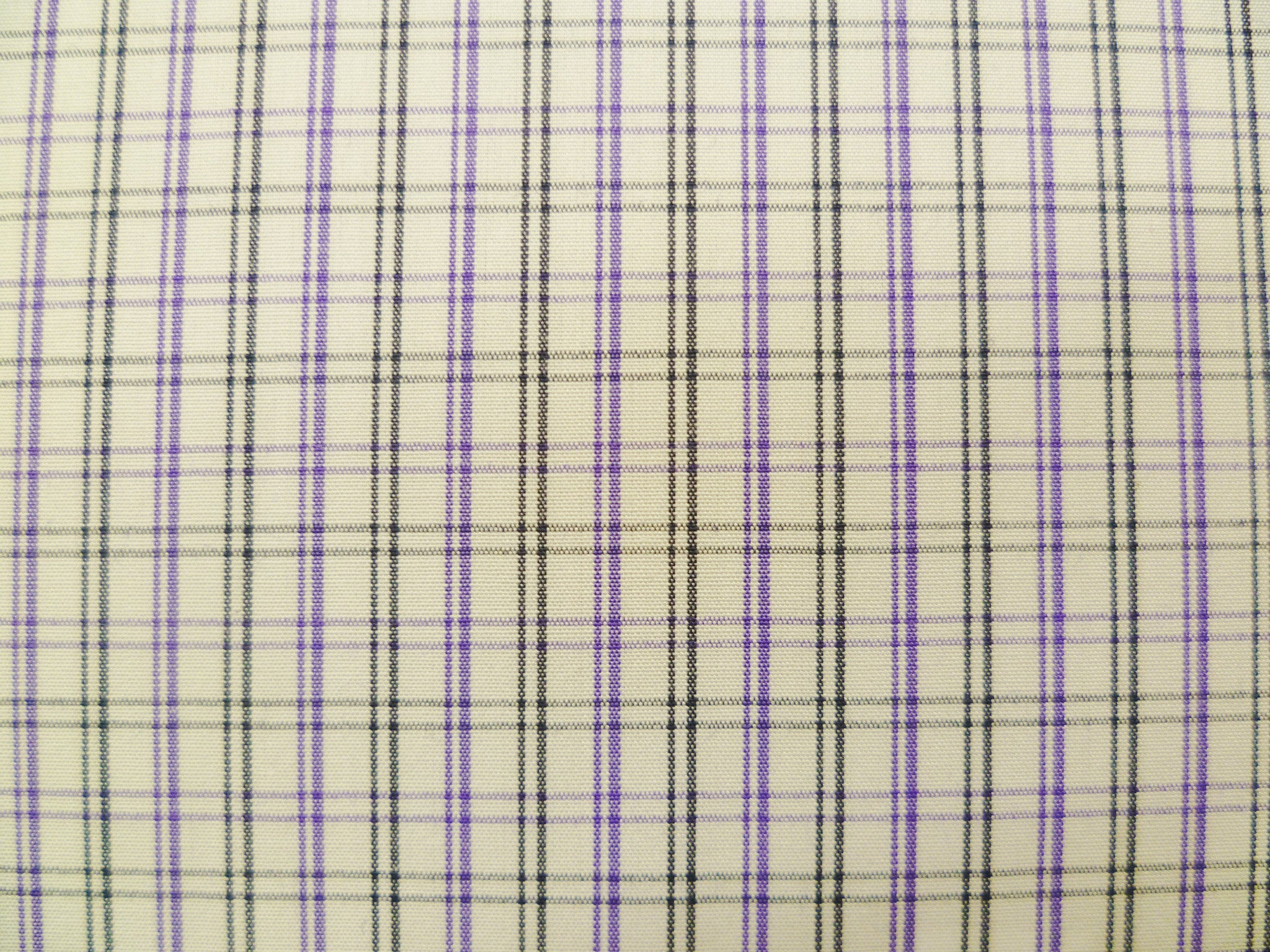 Purple, Black and White Checked Cotton