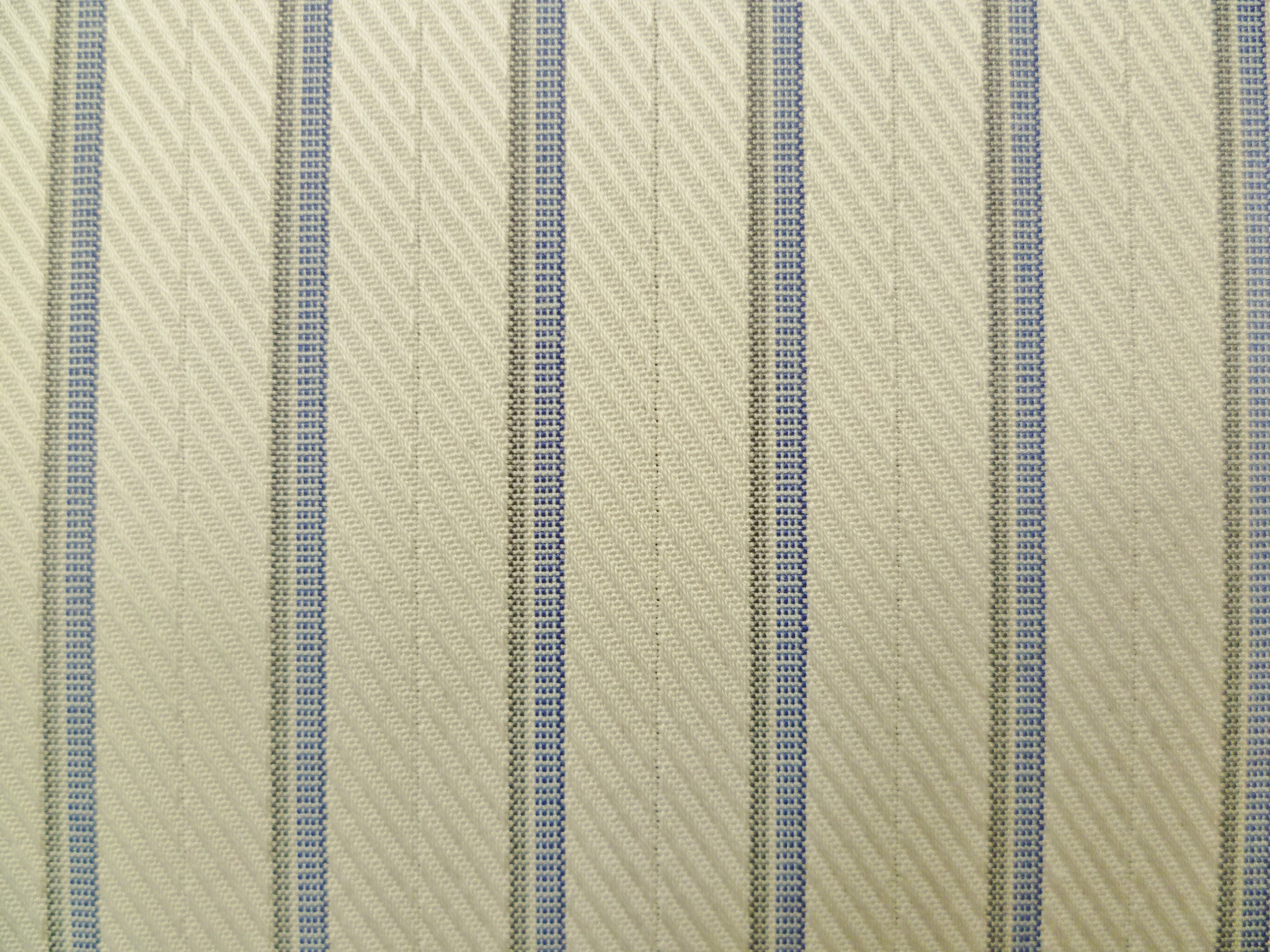 Ocean Blue, Grey and White Twill Striped Cotton