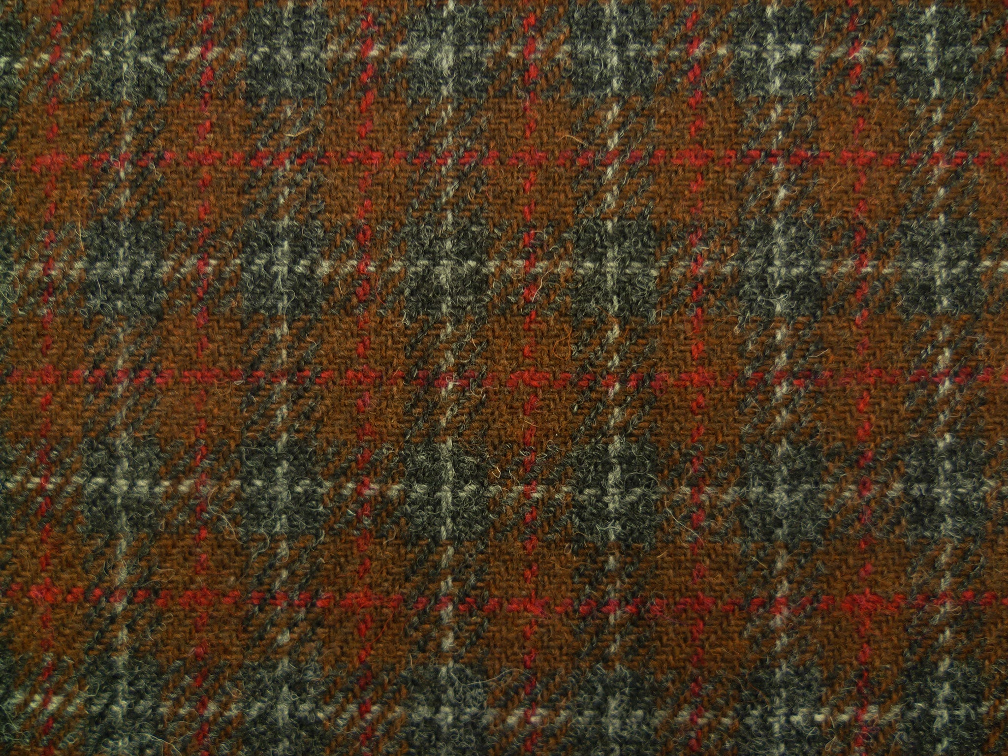 Reddish Brown with Black, Red and Soft Grey Overchecked Wool