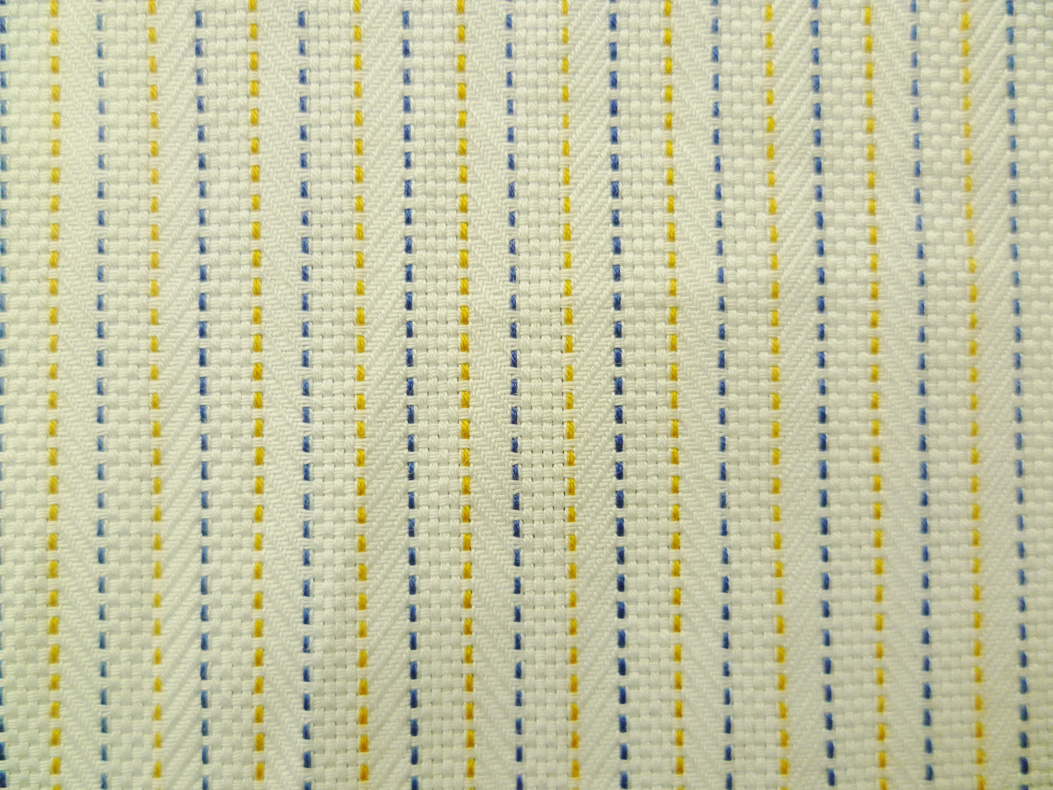 Navy, Beige-Yellow and White Broken Line Striped Cotton