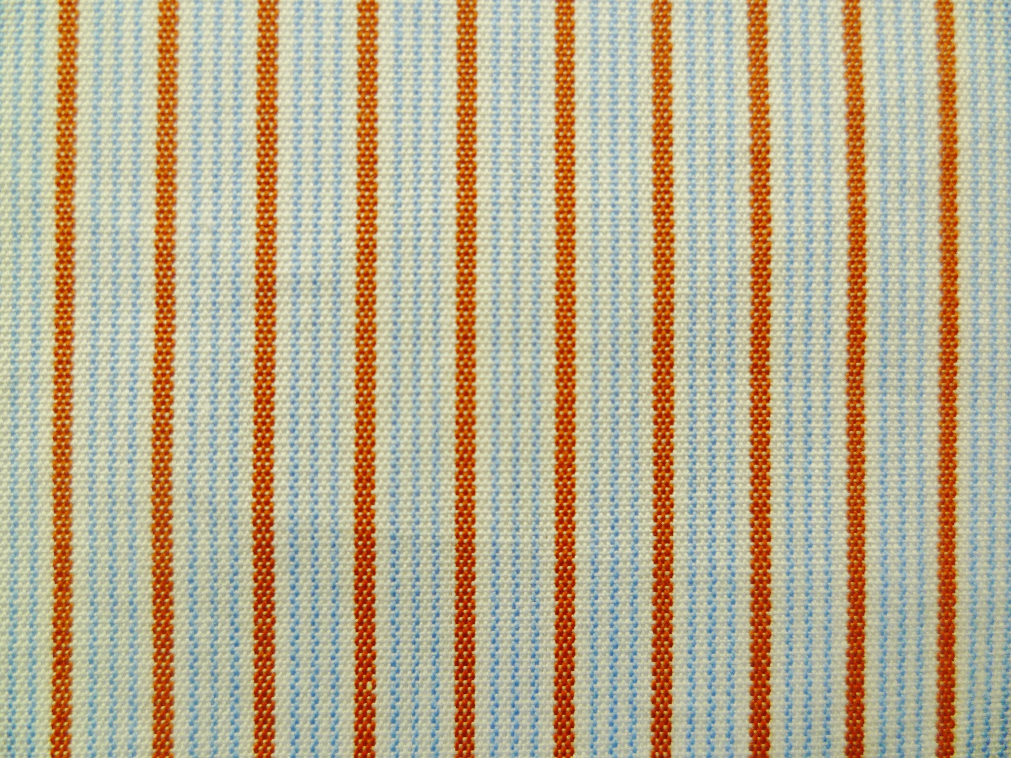 Red-Orange, Baby Blue and White Multi-striped Cotton