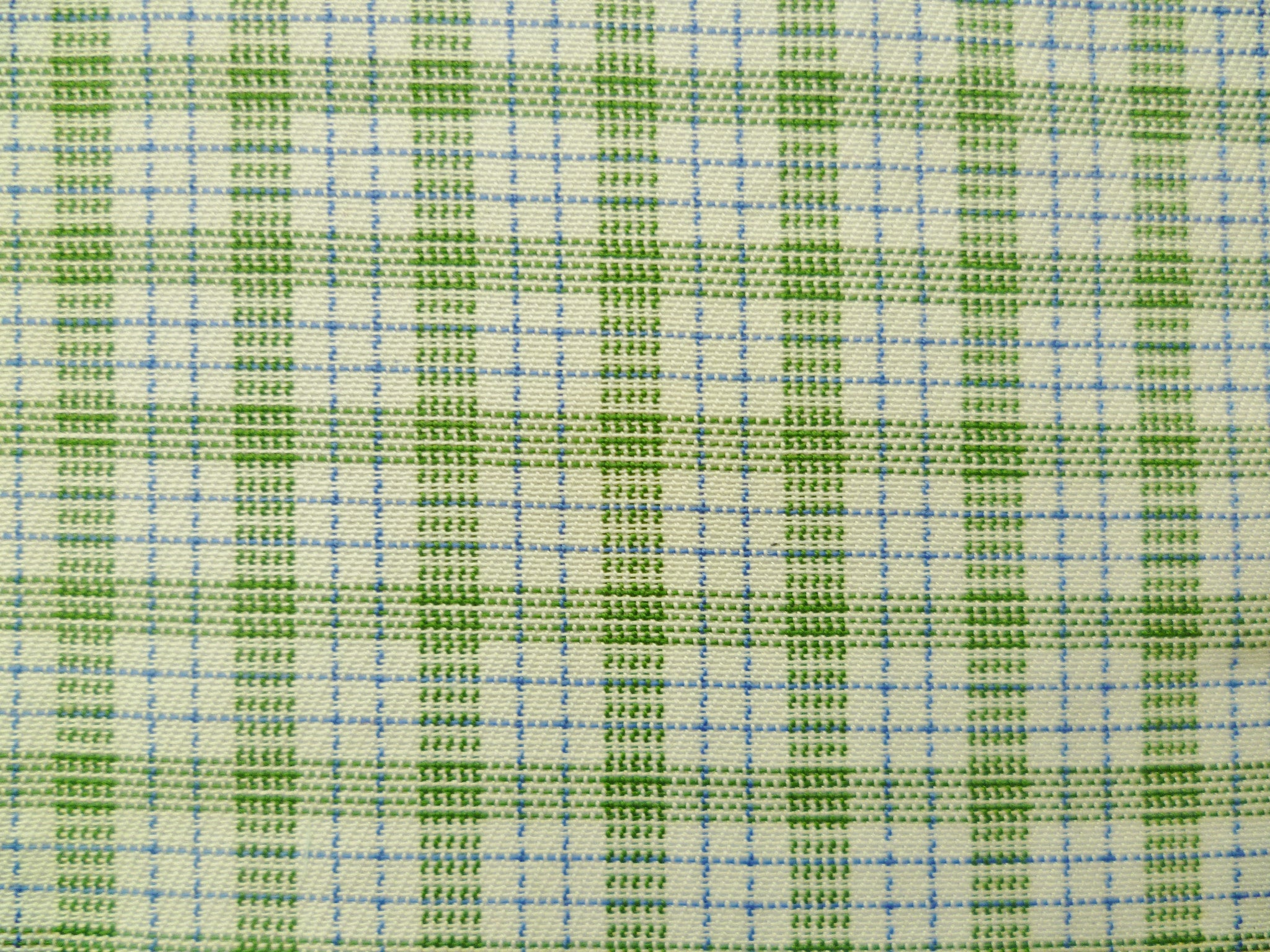 Olive Blue and White Checked Cotton