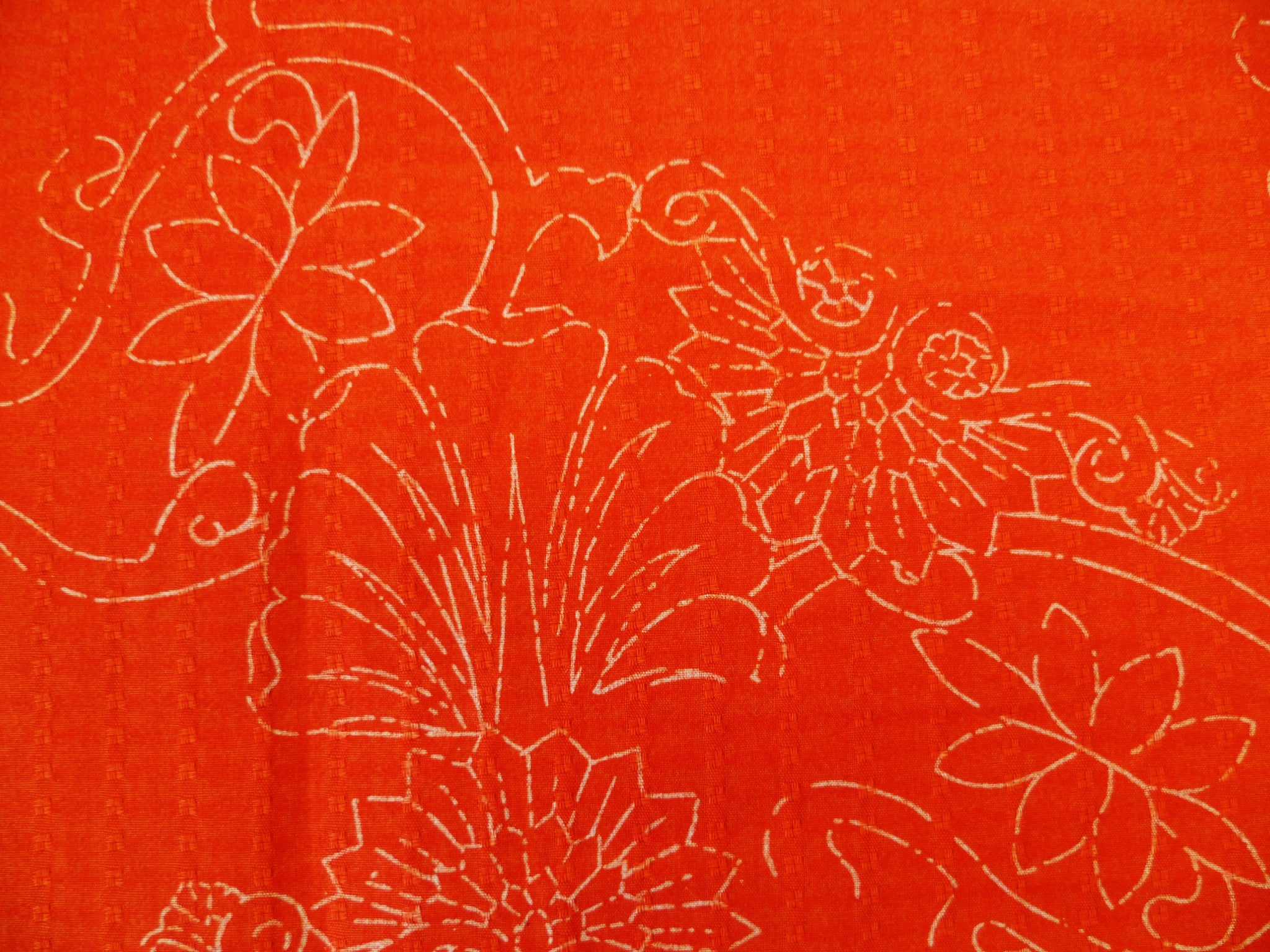 Orange with White Floral Pattern Cotton-Linen