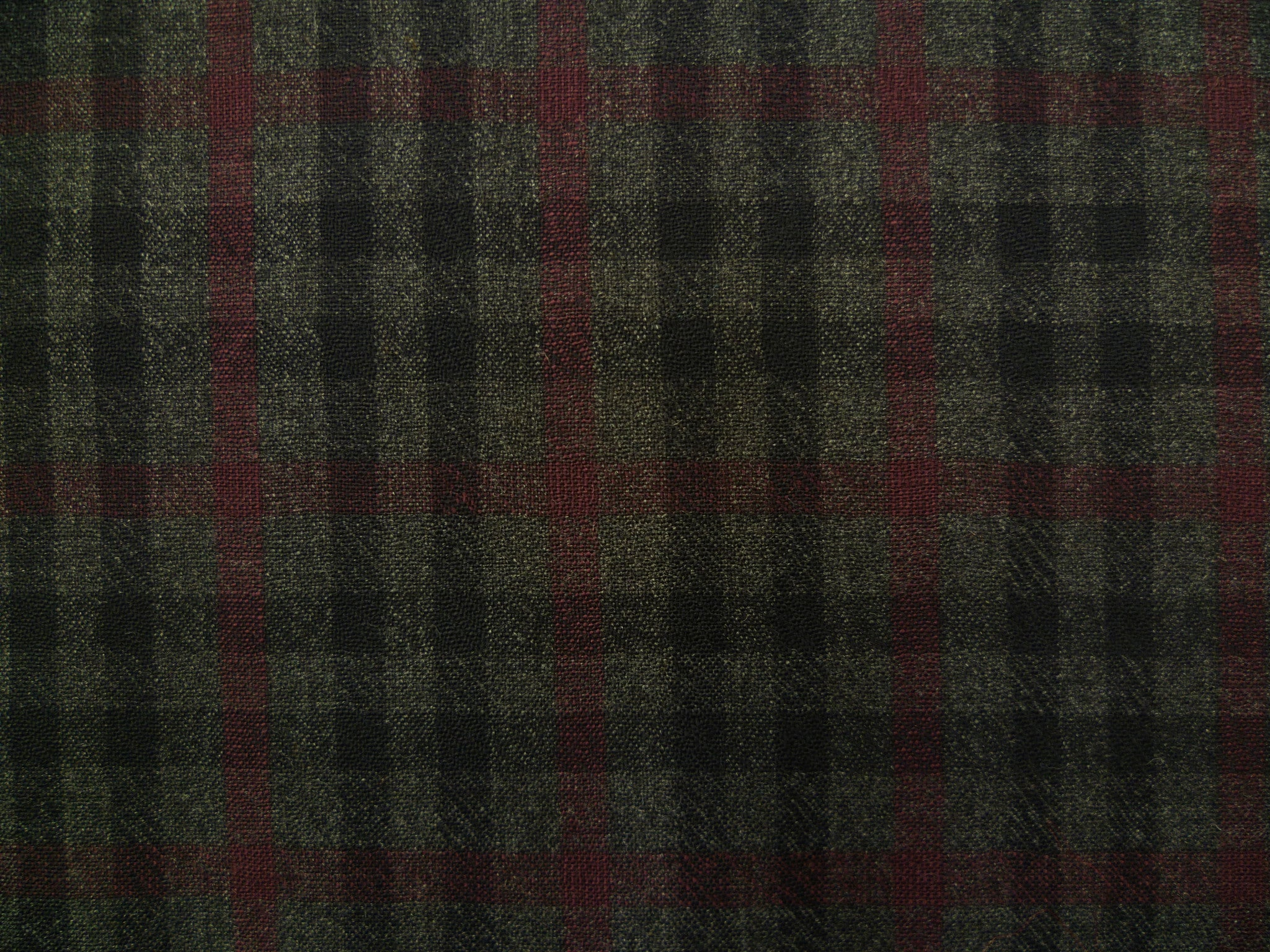 Pewter Grey, Charcoal and Burgundy Overchecked Wool